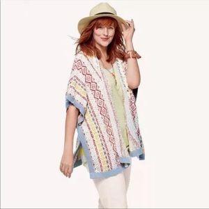 Cabi Love Siesta Boho Poncho Cardigan Sweater
